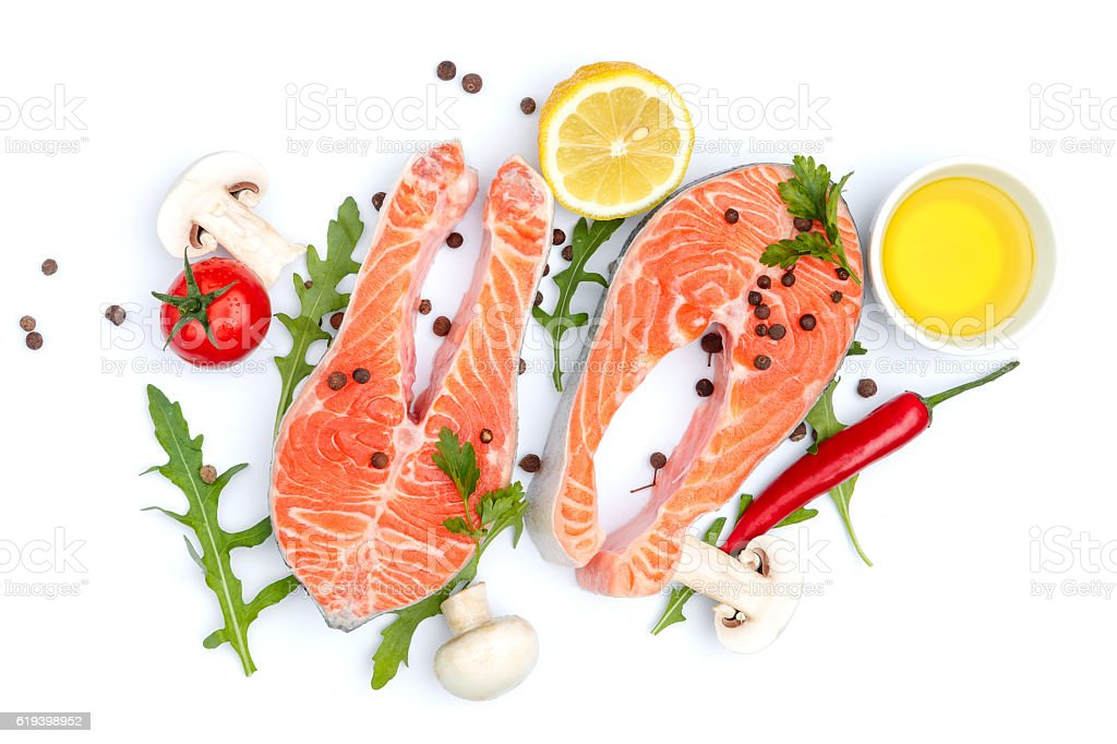 Fresh Raw Salmon Red Fish Steak stock photo