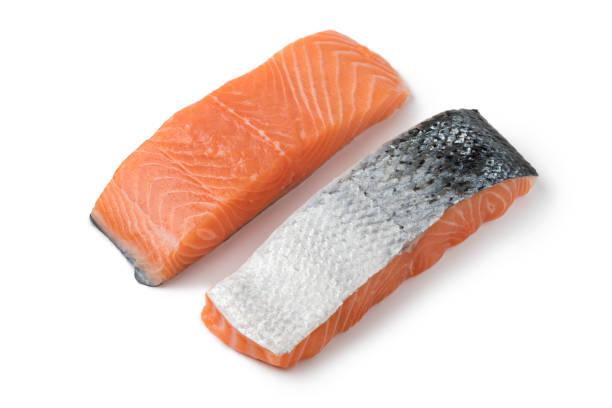 Fresh raw salmon steaks stock photo