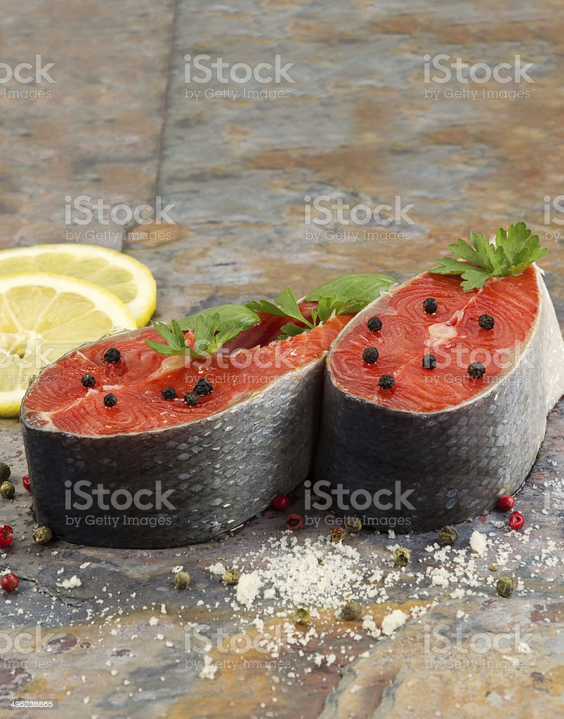 Fresh Raw Salmon Steaks ready for cooking stock photo