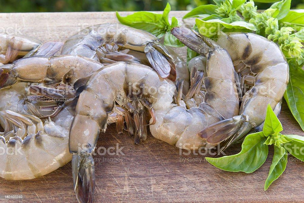 Fresh Raw Seafood, Shrimp or White Prawns stock photo