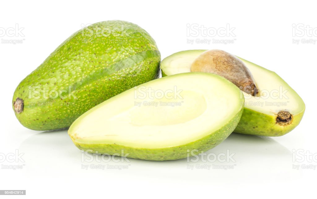 Fresh Raw smooth avocado isolated on white stock photo