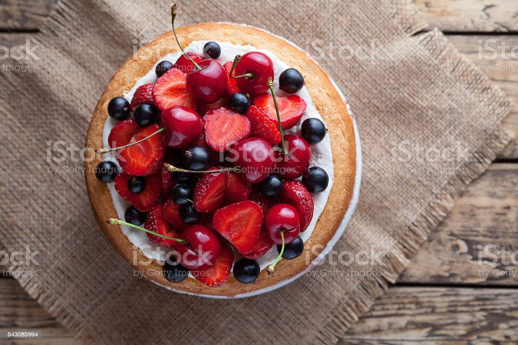 Fresh raw strawberry cake homemade traditional summer gourmet sweet dessert stock photo