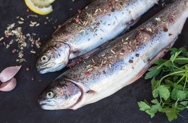 Fresh raw trout fish on black background stock photo
