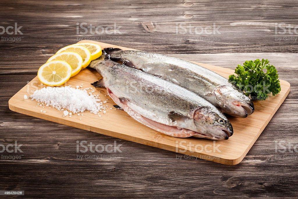 Fresh raw trout stock photo