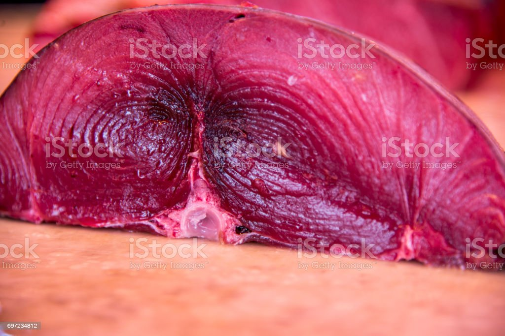 Fresh Raw Tuna Fish Steaks stock photo