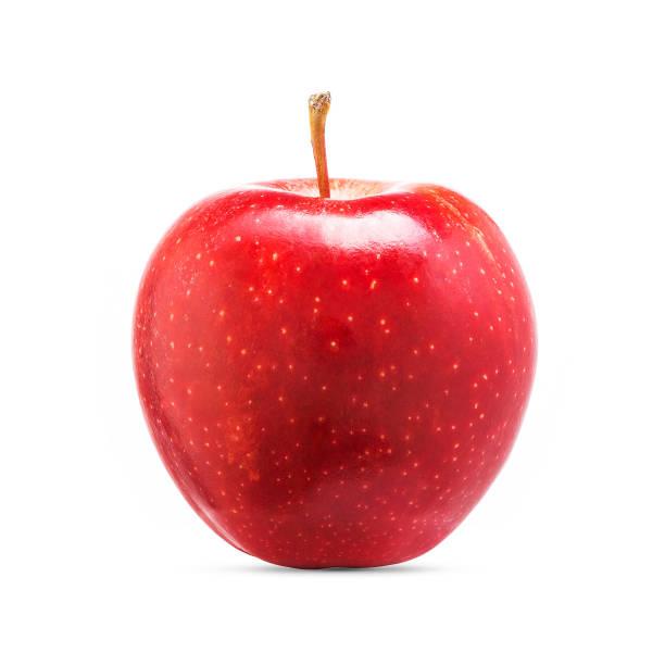 vruchten van de verse rode appel geïsoleerd op witte achtergrond - appel stockfoto's en -beelden