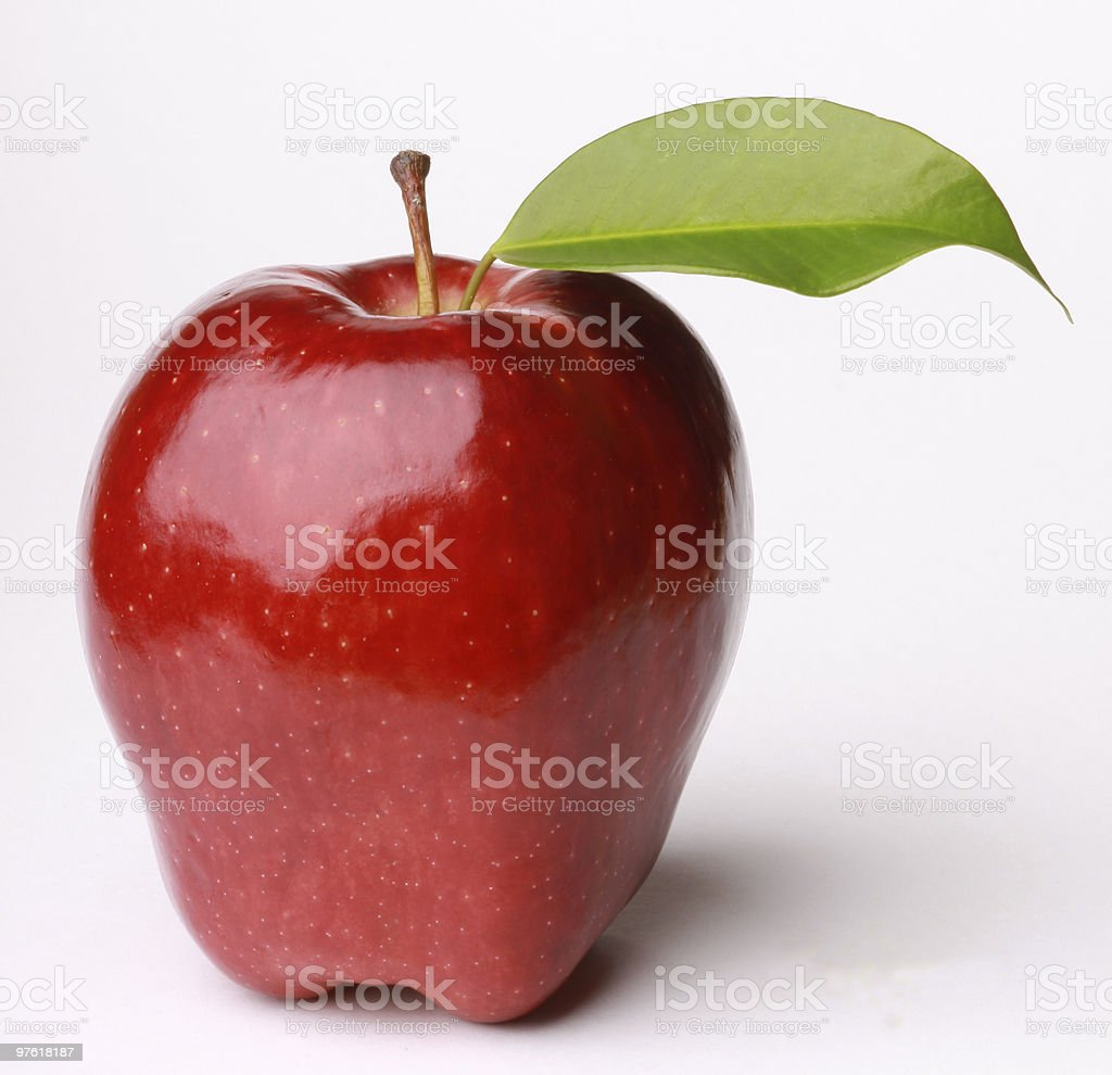 Fresh Red Apple with Green Leaf royalty-free stock photo