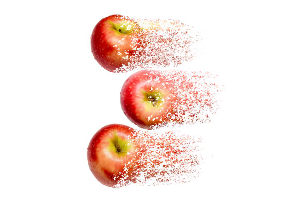 fresh red apples disintegrate to white for concept of food waste and recycle metaphor - disintegrate stock pictures, royalty-free photos & images