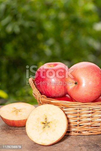 Fresh red apples in bakset