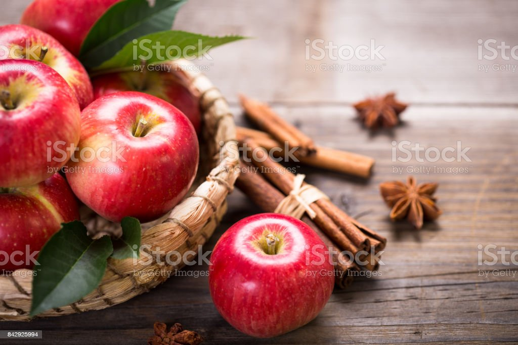 Fresh red apples in the basket stock photo