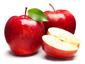 Fresh red apples on white background