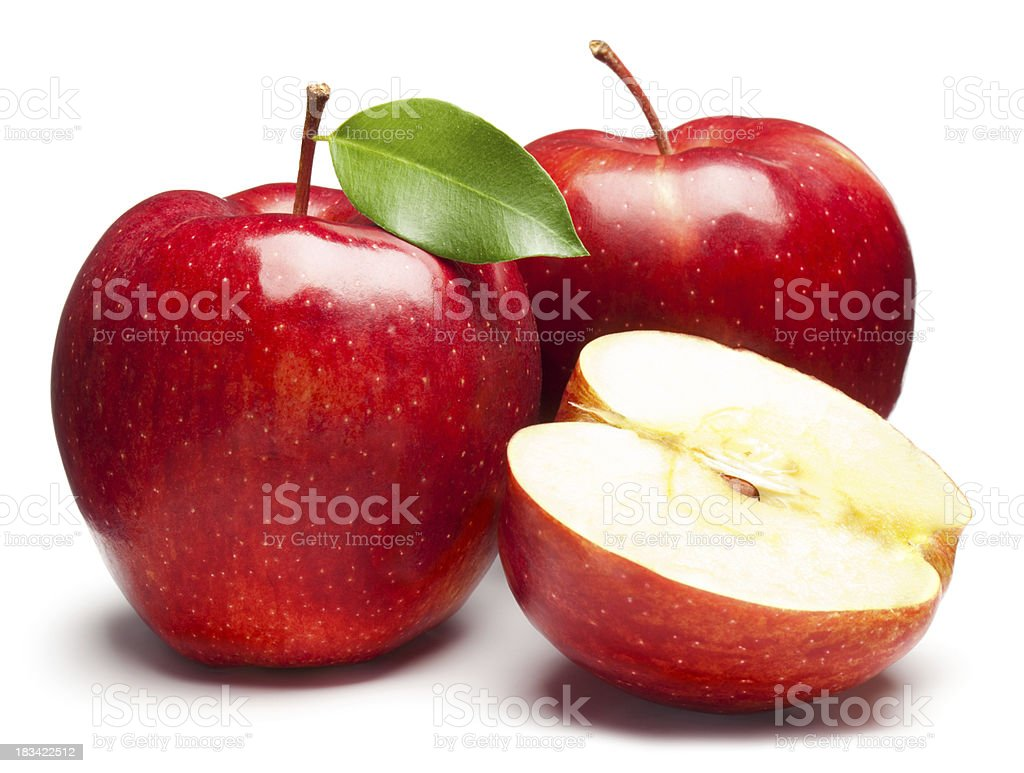 Fresh red apples on white background stock photo