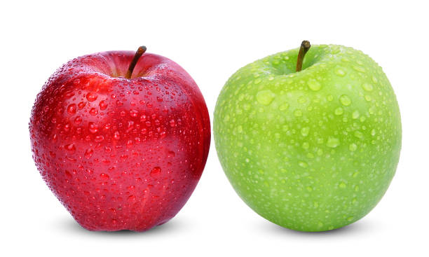 fresh red apples with drop of water isolated on white background fresh red and green apples with drop of water isolated on white background granny smith apple stock pictures, royalty-free photos & images