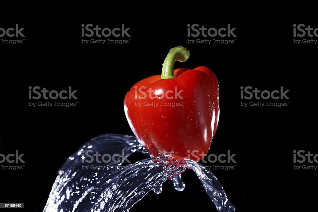 fresh red bell pepper gets hit by a water stream royalty-free stock photo