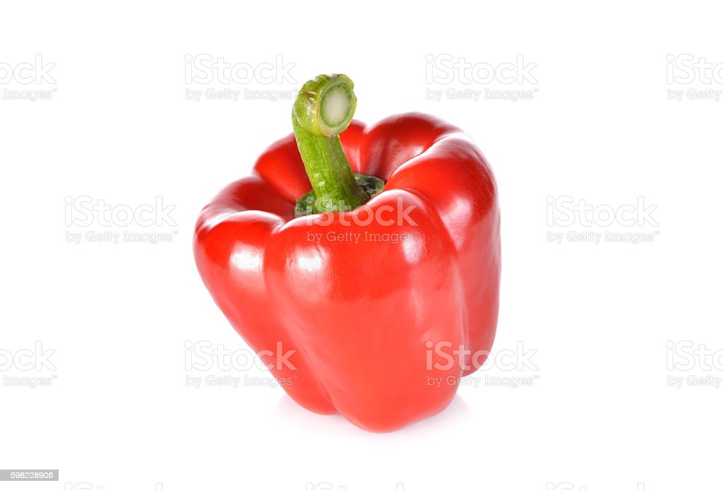 fresh red bell pepper with stem on white background foto royalty-free