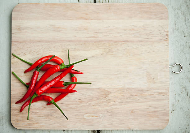 Fresh Red Chillis, Thai Food Overhead Shot with copyspace stock photo