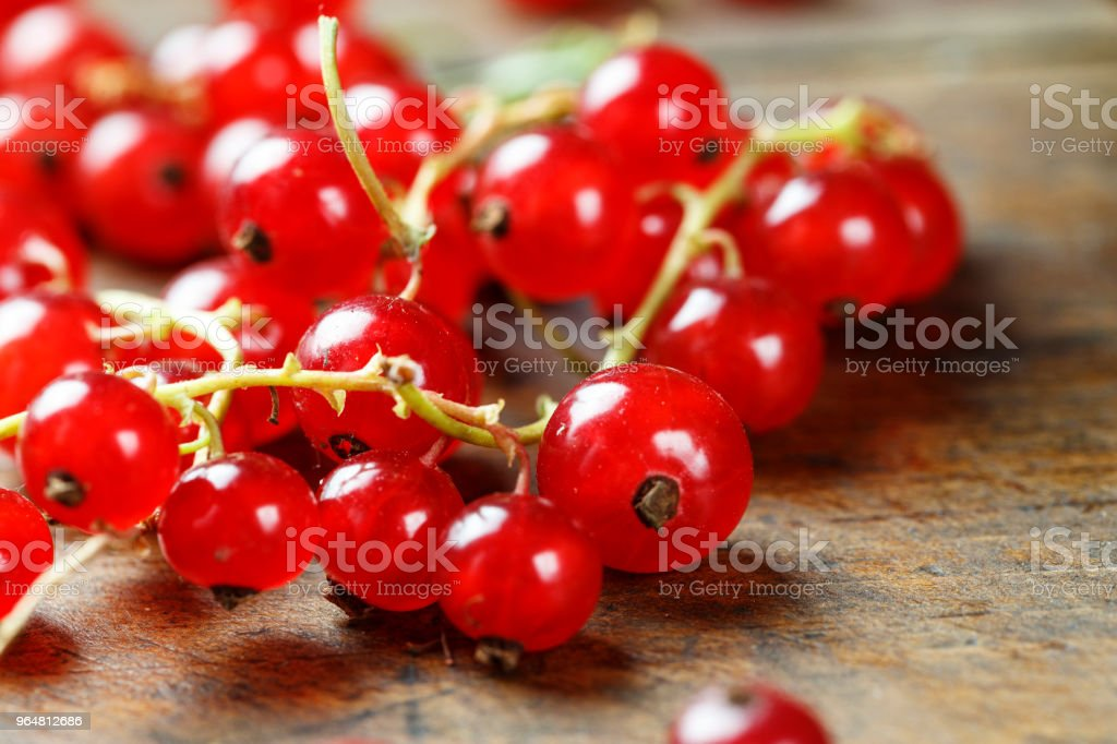 fresh red currant on a wooden background. royalty-free stock photo