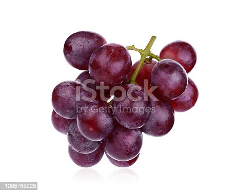 fresh red grape isolated on white background