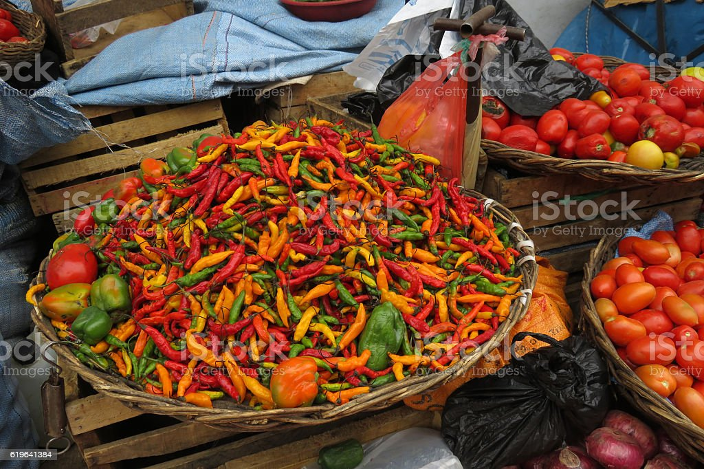 Fresh red, green and yellow chilies, Sucre, Bolivia stock photo