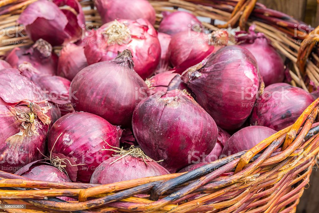 fresh red onions in a basket royalty-free stock photo
