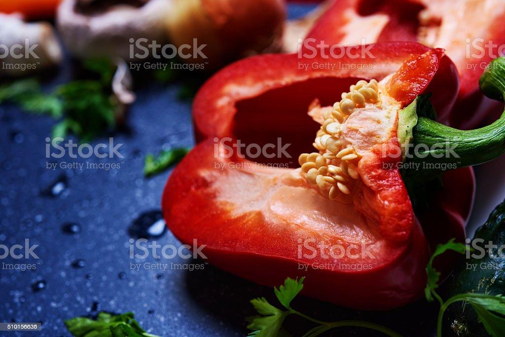 fresh red pepper stock photo