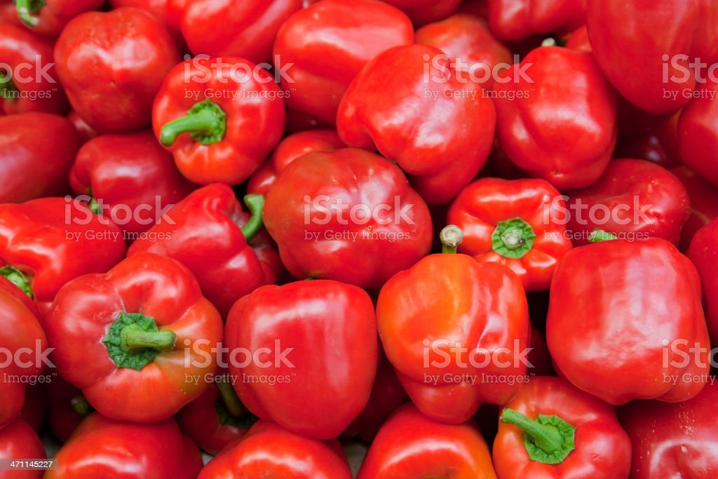 Fresh red peppers from the market stock photo