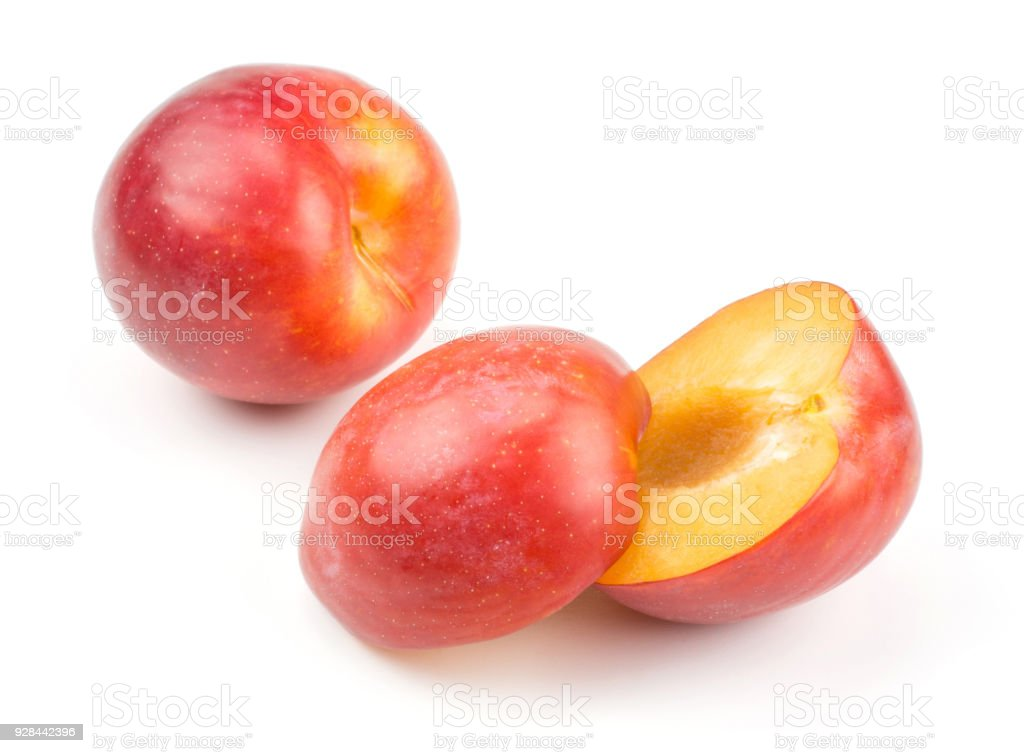 Fresh Red Plum isolated on white stock photo