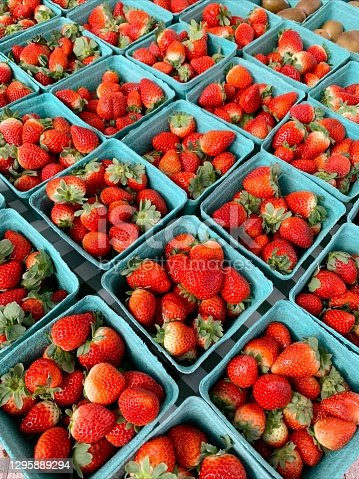 Fresh Red Strawberries in Teal Cartons at a Local Green Market in West Palm Beach, FL.