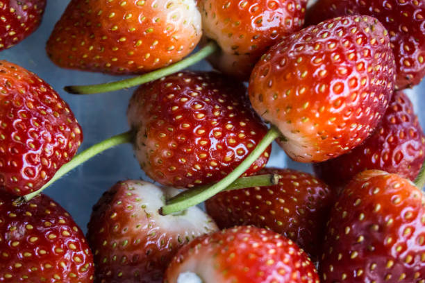 Fresh Red Strawberry cleaned prepare to Eat in Market Fresh Food Concept stock photo