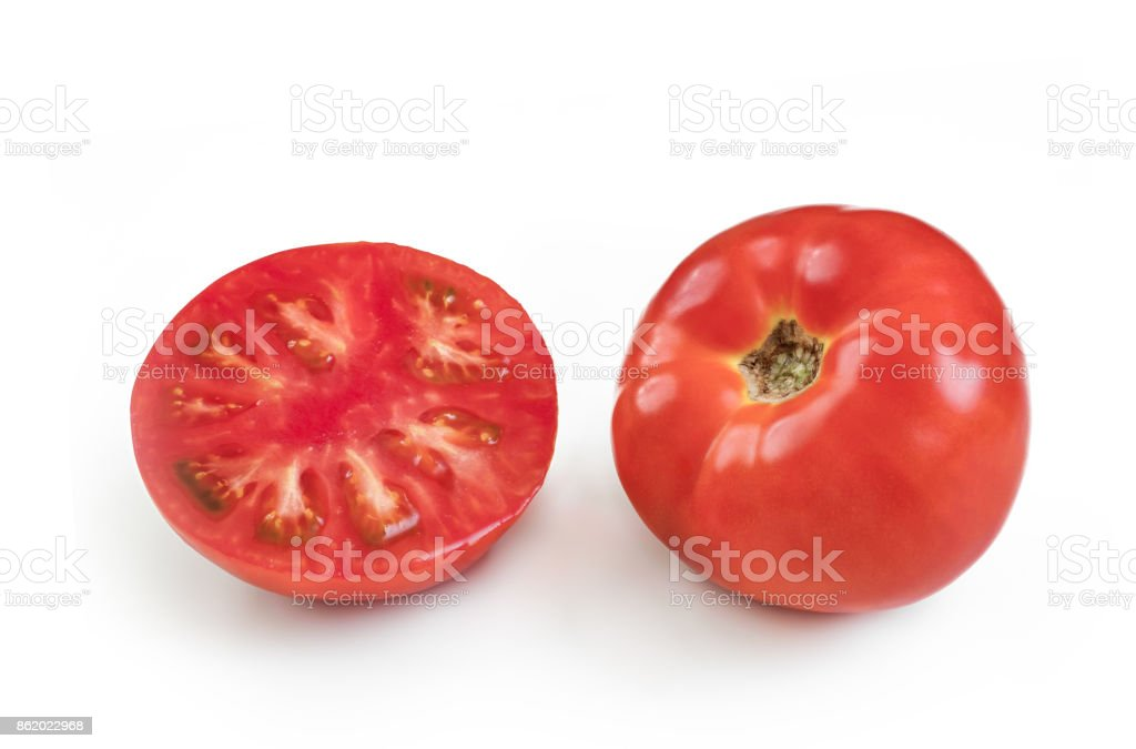 Fresh red tomato isolated on white stock photo