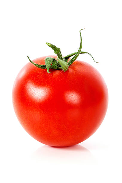 fresh red tomato on white background - körsbärstomat bildbanksfoton och bilder