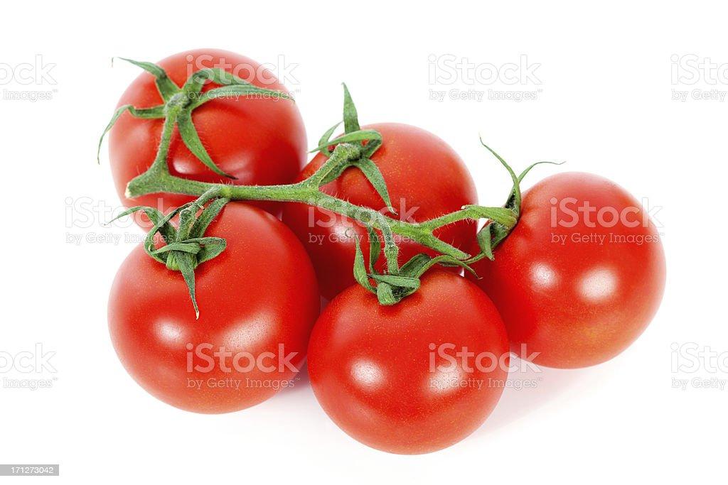 Fresh Red Vine Tomatos on White Background royalty-free stock photo