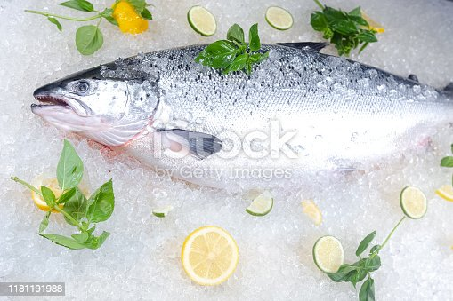 fresh red whole fish, lies on ice, headless, with green basil, light