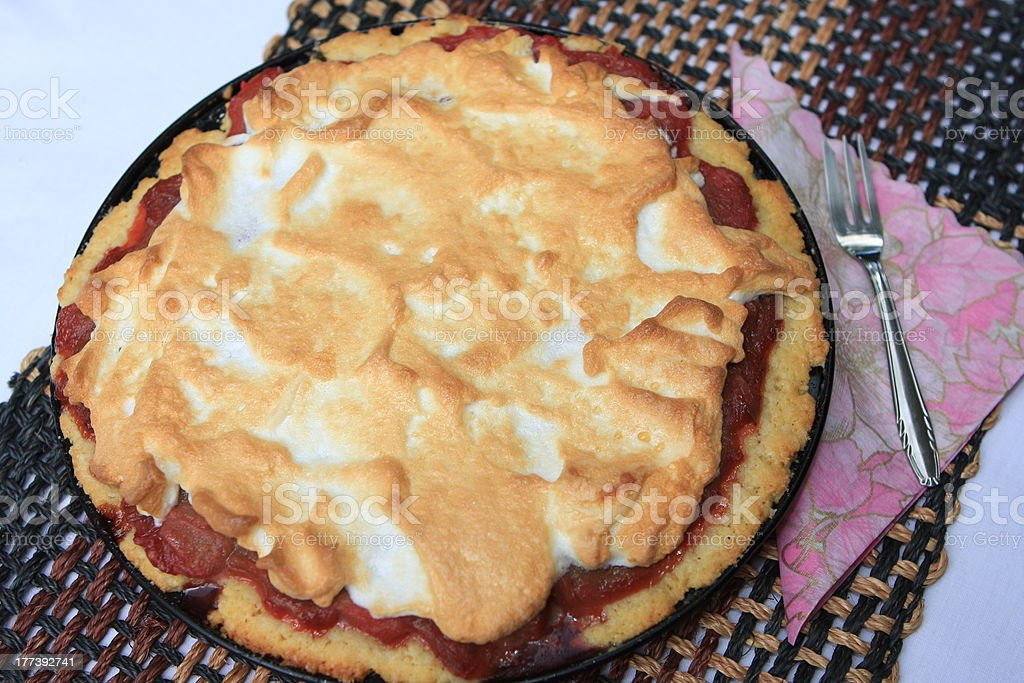 fresh rhubarb pie stock photo
