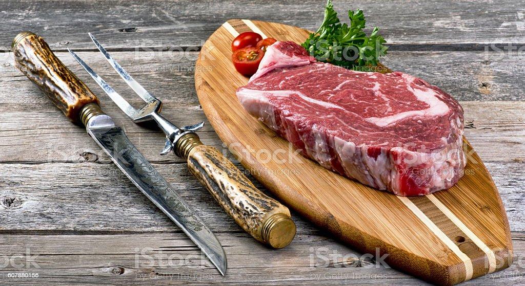 Fresh Rib Eye Steak. stock photo