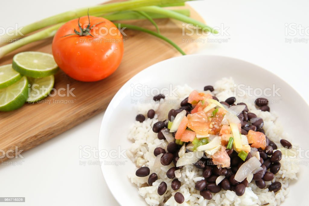 Fresh rice and black beans royalty-free stock photo