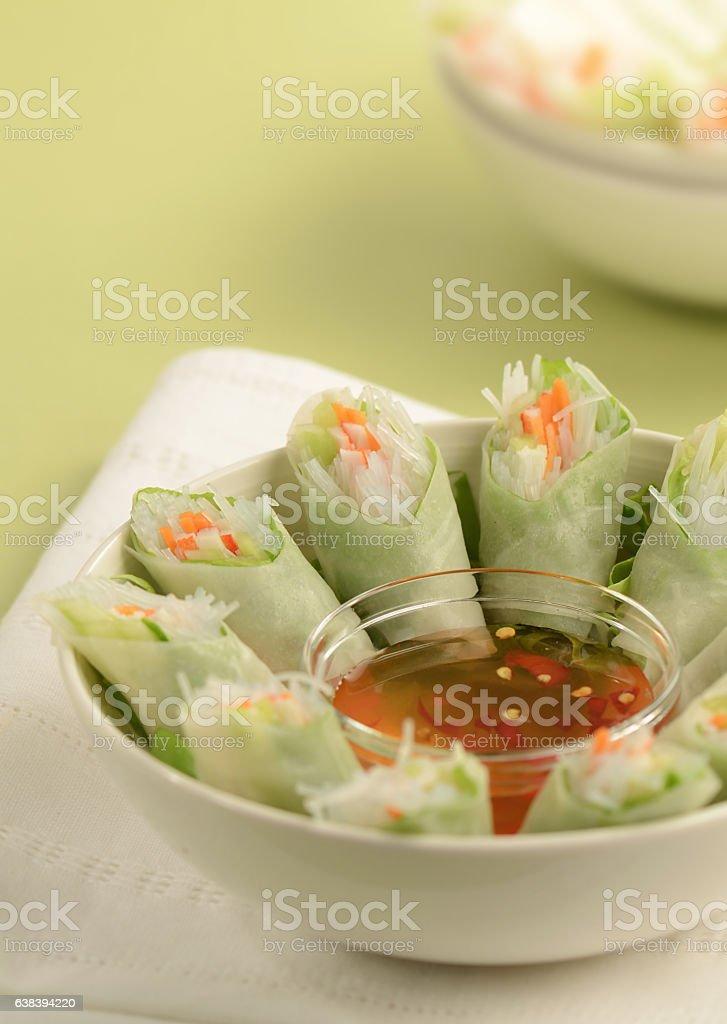 Fresh Rice Rolls stock photo