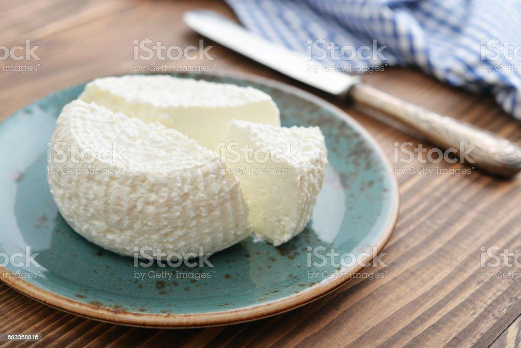 Fresh ricotta on plate stock photo
