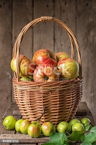 1020586746istockphoto Fresh ripe apples in basket on rustic  table 843697510