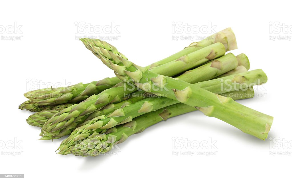 Fresh ripe asparagus on a white background stock photo
