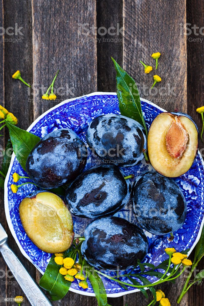 Fresh  ripe blue plums on plate stock photo