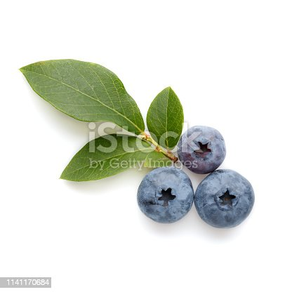 828761410 istock photo Fresh ripe blueberry berries and leaves isolated on white background. Top view. Flat lay. 1141170684