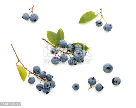 828761410 istock photo Fresh ripe blueberry berries and leaves isolated on white background. Top view. Flat lay. 1141170772