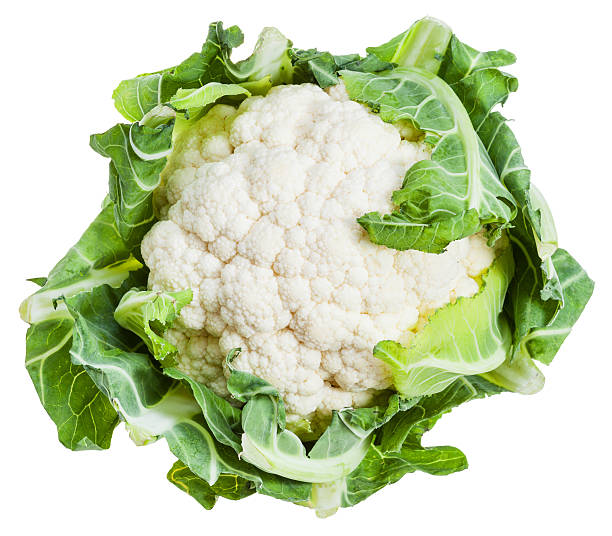 fresh ripe cauliflower isolated on white stock photo
