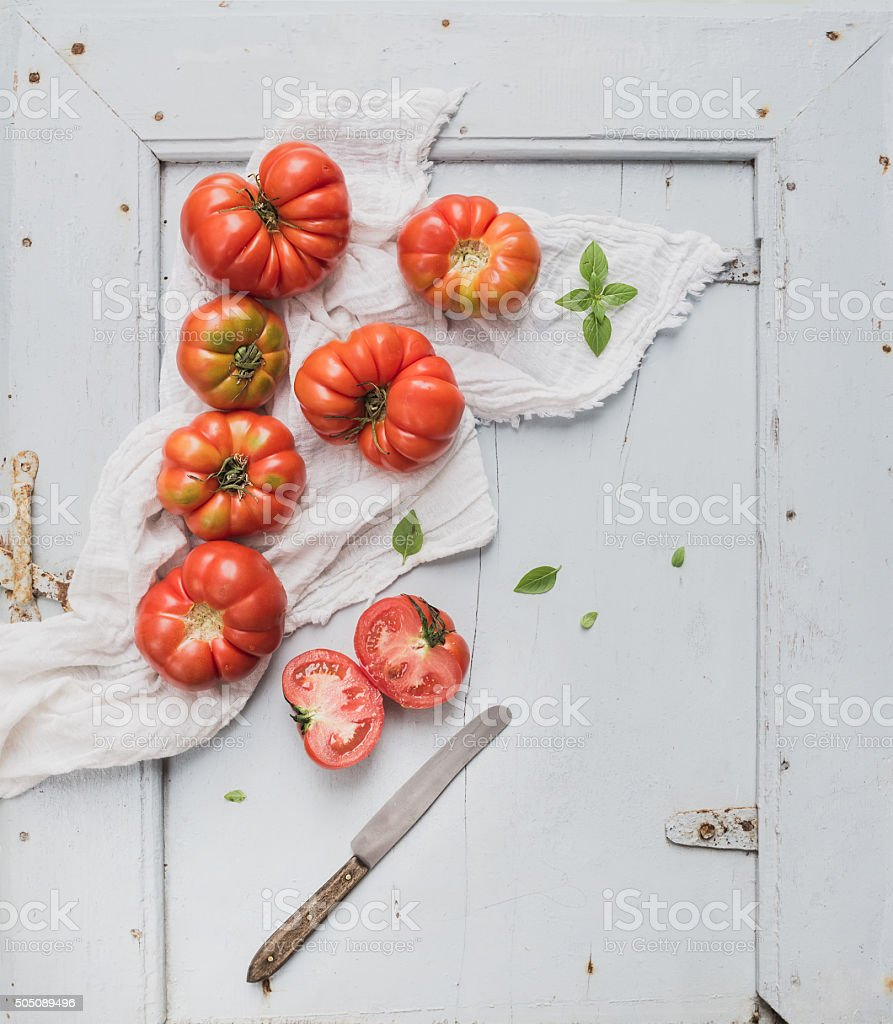 Fresh Ripe Hairloom Tomatoes And Basil On Rustuc Blue Wooden Stock Top Rust Royalty Free Photo