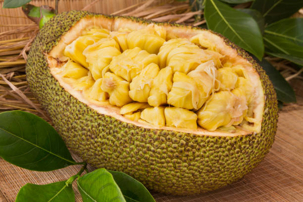 frische reife jackfruit. frische süße jackfrucht segment bereit zu essen. - jackfrucht stock-fotos und bilder