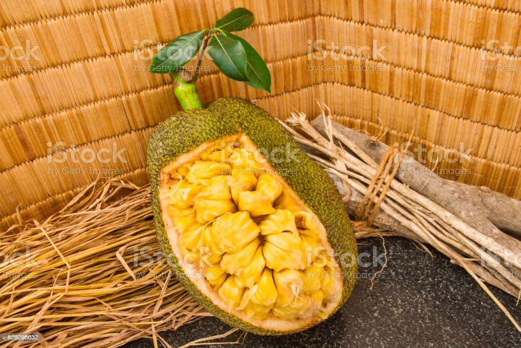 Fresh ripe jackfruit. Fresh sweet jackfruit segment ready for eat. stock photo