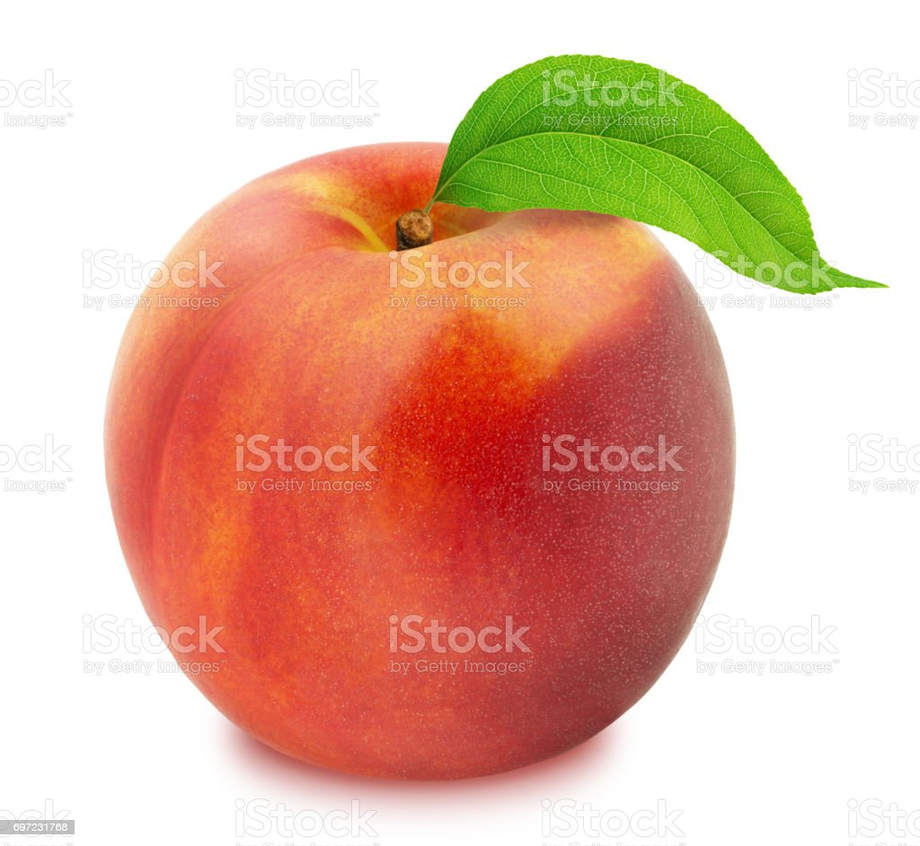 Fresh Ripe Nectarine with Clipping Path stock photo
