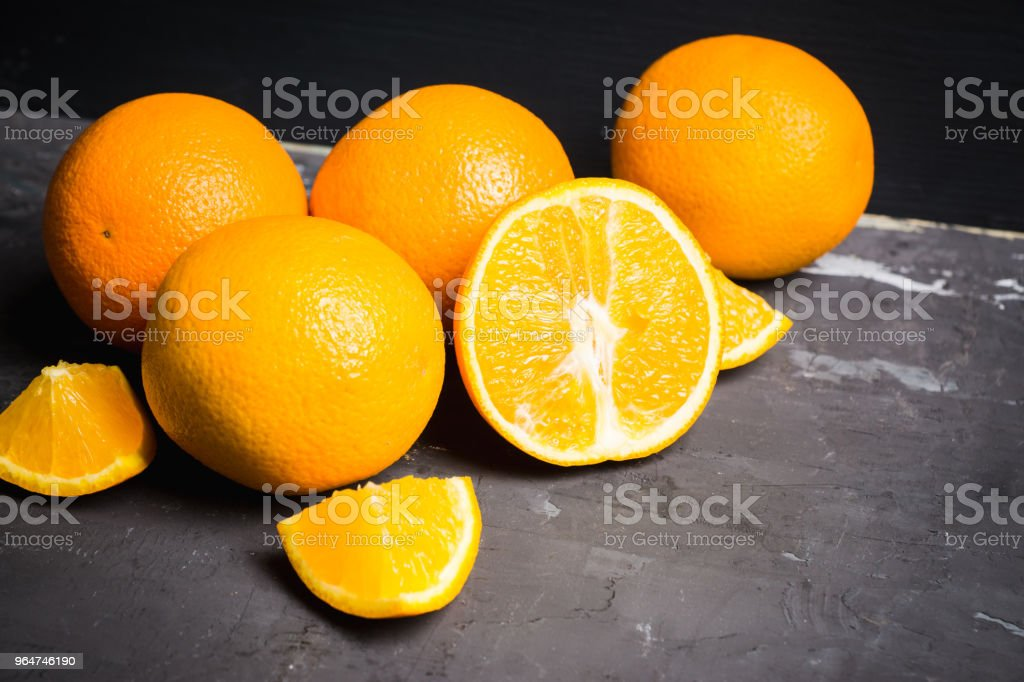 Fresh ripe oranges in the wooden crate royalty-free stock photo