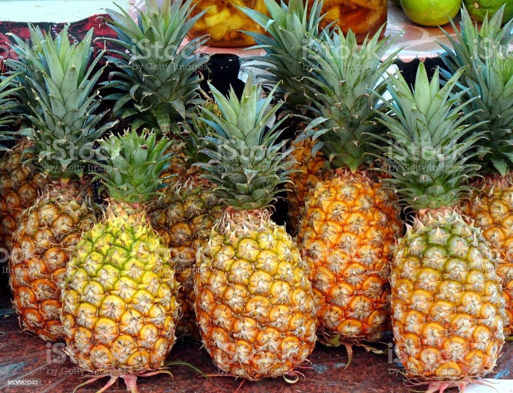 Fresh Ripe Pineapples for Sale stock photo